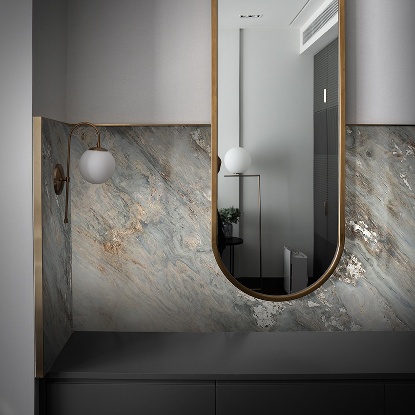 Curved Mirror with Palissandro Nuvolato