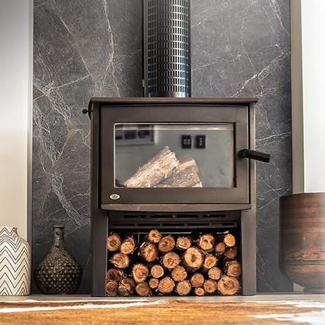 Elegant Grey Textured Wall and Log Burner