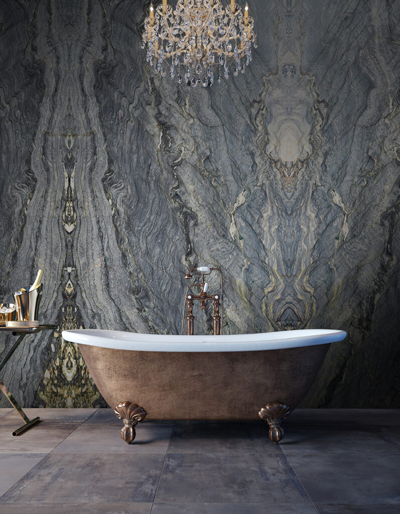 Fusion Blue Chandelier bath