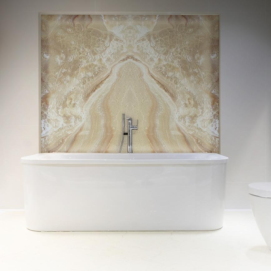 Honey Onyx Bathroom Feature Wall