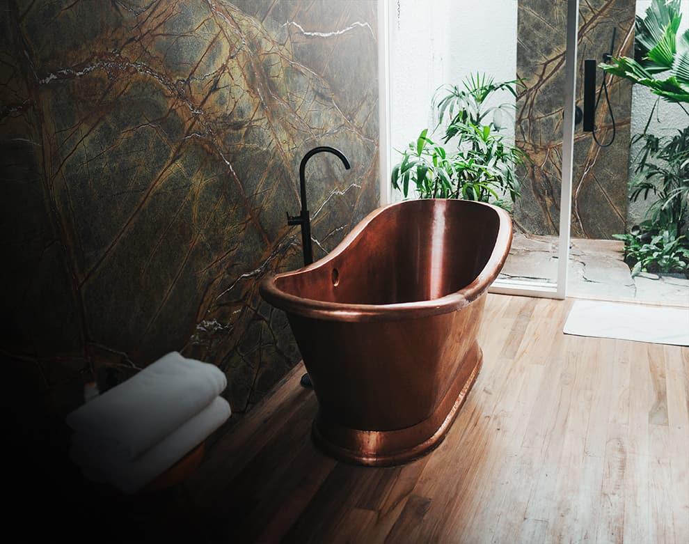 Rainforest Green Copper Bath