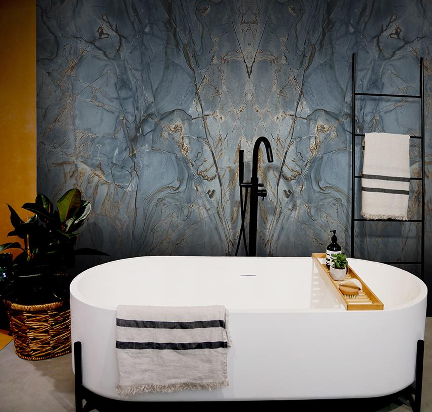 Roma Blue Bathroom Feature Wall